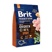 Brit Premium Sport сухой корм для активных собак с повышенной физической нагрузкойс курицей 3 кг