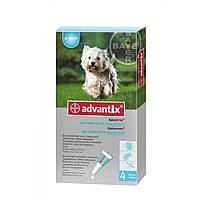 Bayer Advantix для собак від 4 до 10 кг - краплі на холку від бліх і кліщів, упаковка 4 піпетки