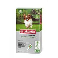 Bayer Advantix для собак до 4 кг - краплі на холку від бліх і кліщів, упаковка 4 піпетки