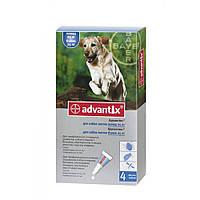 Bayer Advantix для собак вагою понад 25 кг - краплі на холку від бліх і кліщів, упаковка 4 піпетки