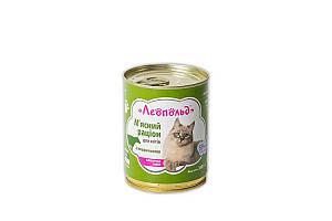 Консерва Леопольд для котов, рацион с говядиной, 360 г