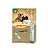 Bayer Advocate для собак весом до 4 кг капли на холку от блох и клещей, упаковка 3 пипетки