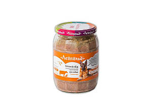Консерва Леопольд мясной корм для собак с телятиной, уткой и овощами, 720 г