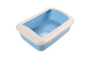 Туалет под наполнитель AnimAll с бортиком, 41х30х14 см, голубой