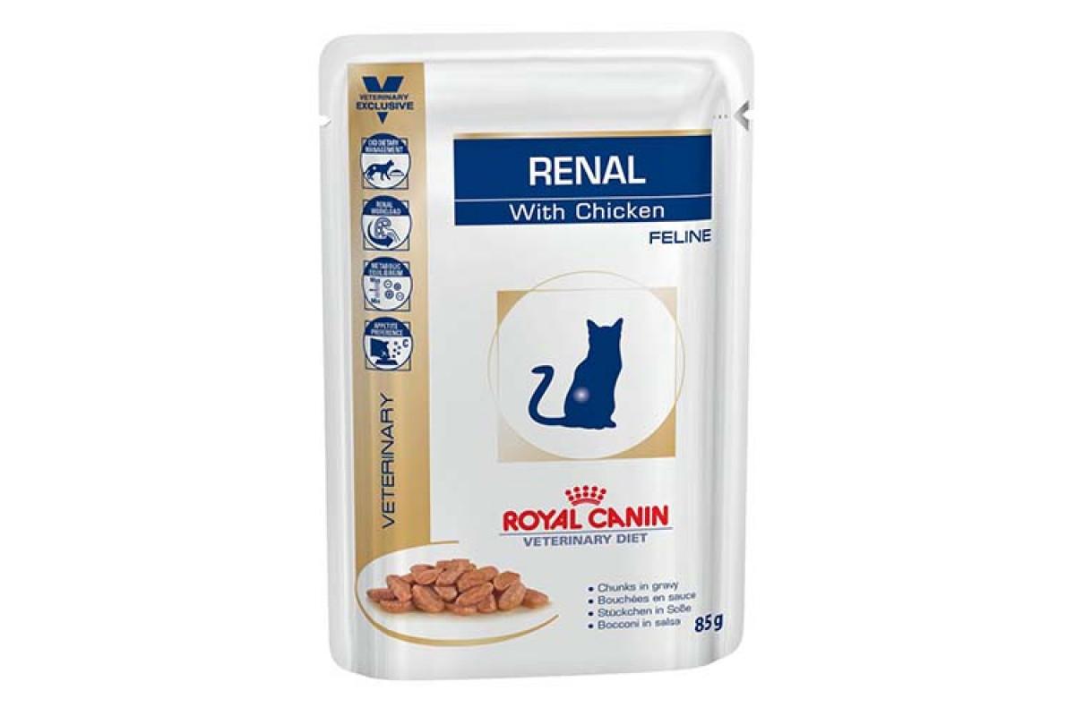 Royal Canin Renal Feline Chicken 85 г х 12 - корм для дорослих котів з хронічною нирковою недостатністю
