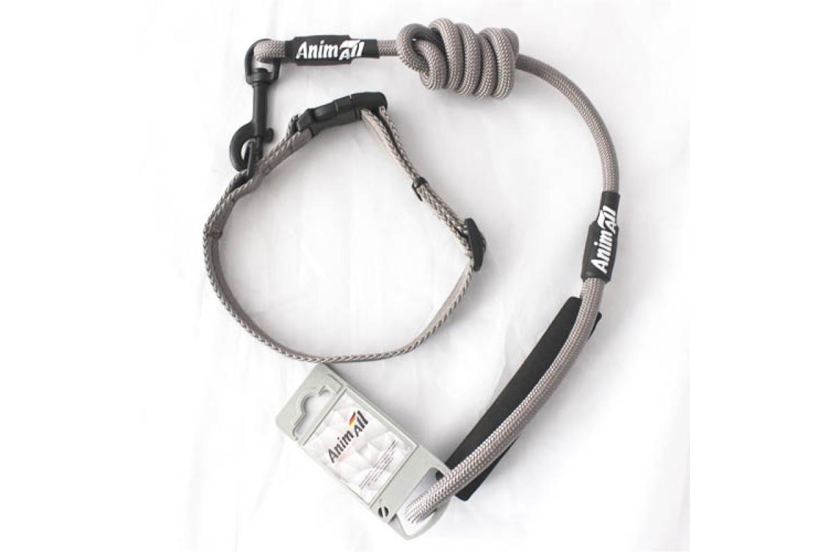 AnimAll комплект для собак поводок и ошейник M, серый