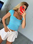 Укороченная женская футболка топ с квадратным вырезом (р. 42-44) 9017514, фото 9
