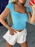 Укороченная женская футболка топ с квадратным вырезом (р. 42-44) 9017514, фото 4