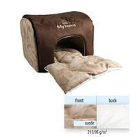 Flamingo (ФЛАМИНГО) MY HOME домик для котов и собак малых пород, двойная подстилка, коричневый, 45х35х30 см