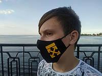 Маска многоразовая тканевая защитная черная OFF лого на лицо, маска для рта