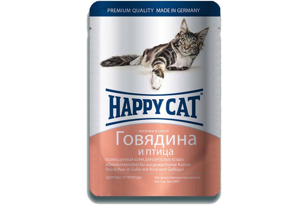 Вологий корм Happy Cat Rind Geflugel in Sosse для дорослих кішок, шматочки в соусі, з яловичиною та птицею,
