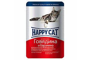 Влажный корм Happy Cat Rind Lamm in Sosse для взрослых кошек, кусочки в соусе, с говядиной и бараниной, 100 г