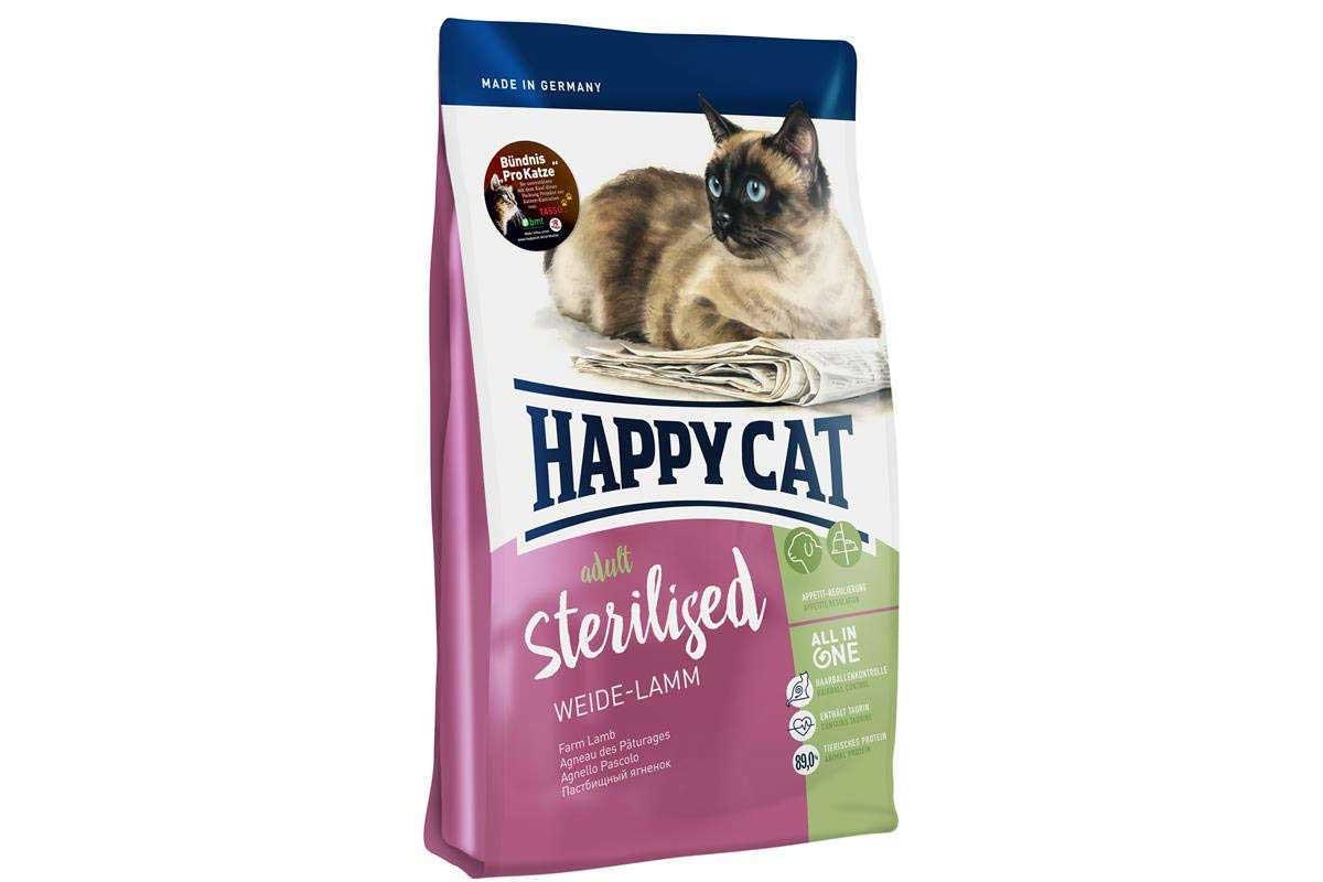 Корм Happy Cat Adult Sterilised 4 кг для стерилизованных кошек и кастрированных котов, с ягнёнком