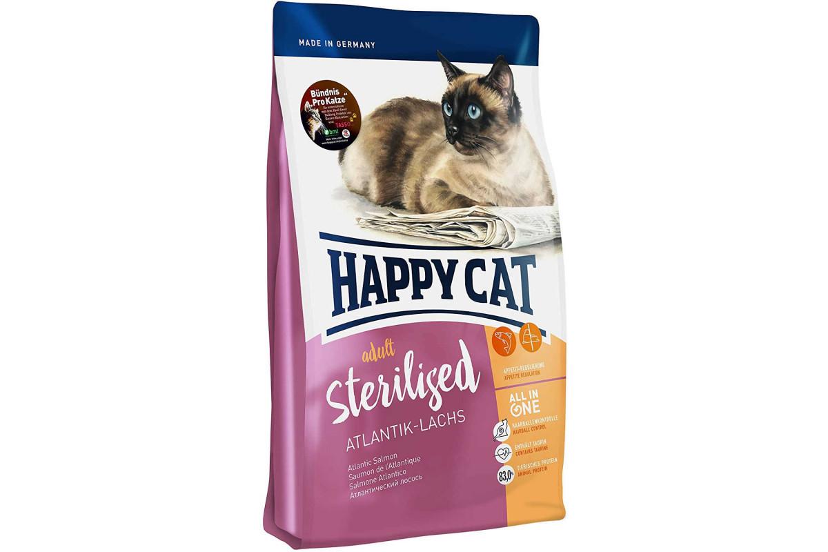 Сухой корм Happy Cat Adult Sterilised 10 кг для стерилизованных кошек кастрированных котов, с лососем