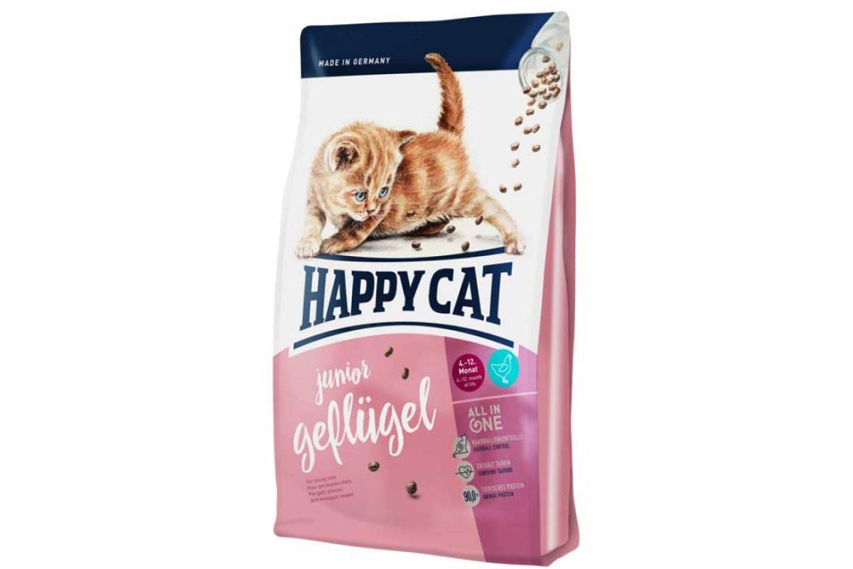 Сухой корм Happy Cat Geflugel 1,4 кг для котят до 12 месяцев с чувствительным пищеварением, с птицей