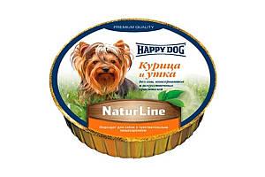 Влажный корм Happy Dog NaturLine для собак до 10 кг с чувствительным пищеварением, с курицей и уткой, 85 г