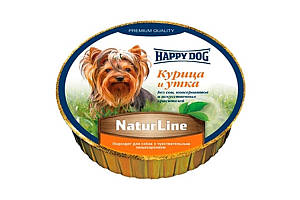 Вологий корм Happy Dog NaturLine для собак до 10 кг з чутливим травленням, з куркою і качкою, 85 г