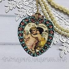 Бирка-открытка для упаковки подарков Сердечко с ангелами 2 6.5x8 см