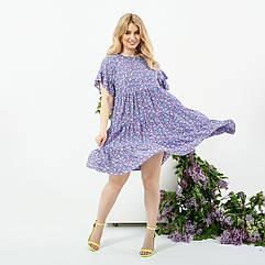 Платье летнее батал NOBILITAS 42 - 52 сиреневое штапель (арт. 21020)