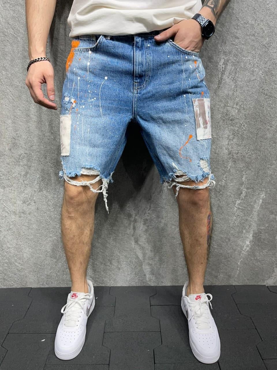 Мужские джинсовые шорты (голубые) рваные на лето S8115