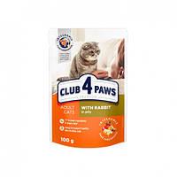 Влажный корм для котов Клуб 4 Лапы с кроликом в желе 100 гр 24 шт