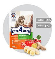 Влажный корм для котов Клуб 4 Лапы с курицей в соусе 100 гр 24 шт