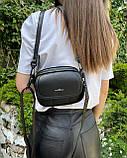 Сумка жіноча крос-боді, шкіряна, на плече polina&eiterou Чорна, фото 2