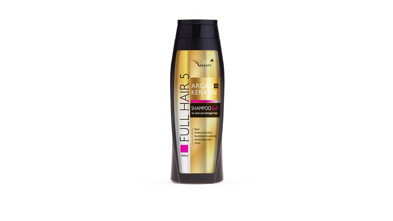 Шампунь для волосся з Арганом і кератином 5 в 1 Argan&Keratin від Arsy Cosmetics 450 мл