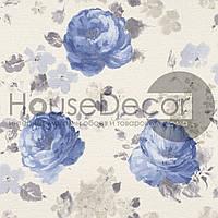 Обои флизелиновые Rasch Florentine 448818 рисунок цветы белые/ синие / серые