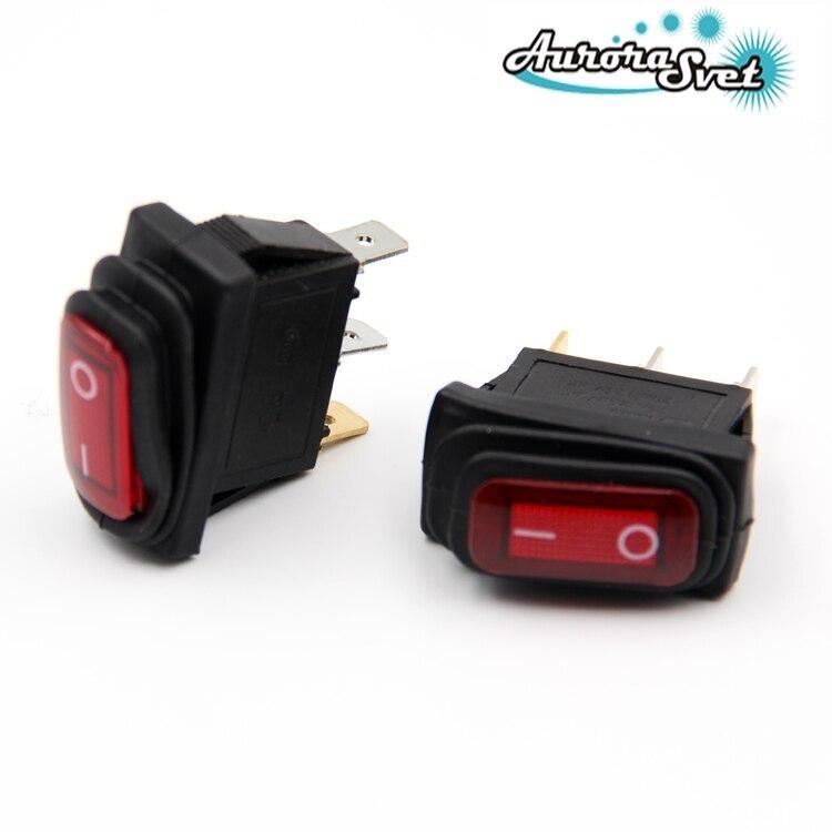 Вологостійкий - кулісний вимикач 250 В 16A LED з червоним підсвічуванням приладової панелі автомобілів