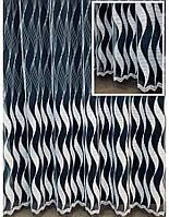 """Тюль з вишивкою на основі фатину """"Хвиля"""" (білий), фото 1"""
