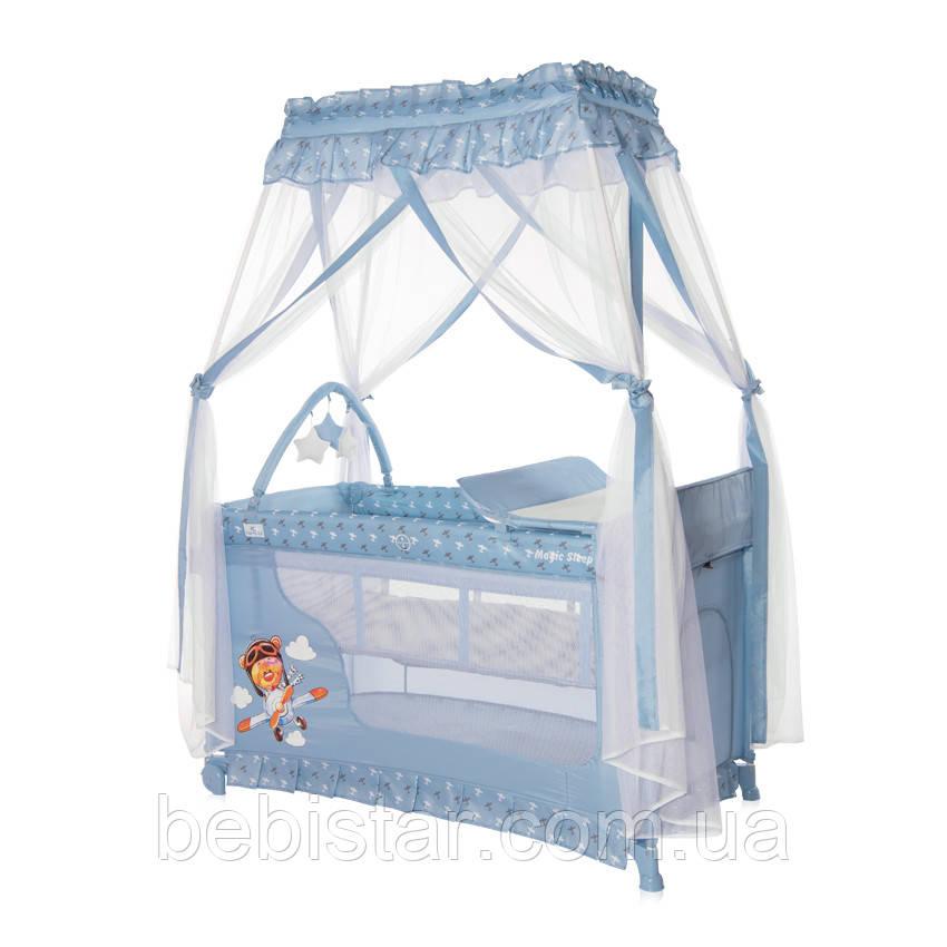 Кровать - манеж с балдахином Lorelli Magic Sleep для детей с рождения до 3- х лет Синий