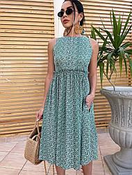 Платье миди приталенное штапель