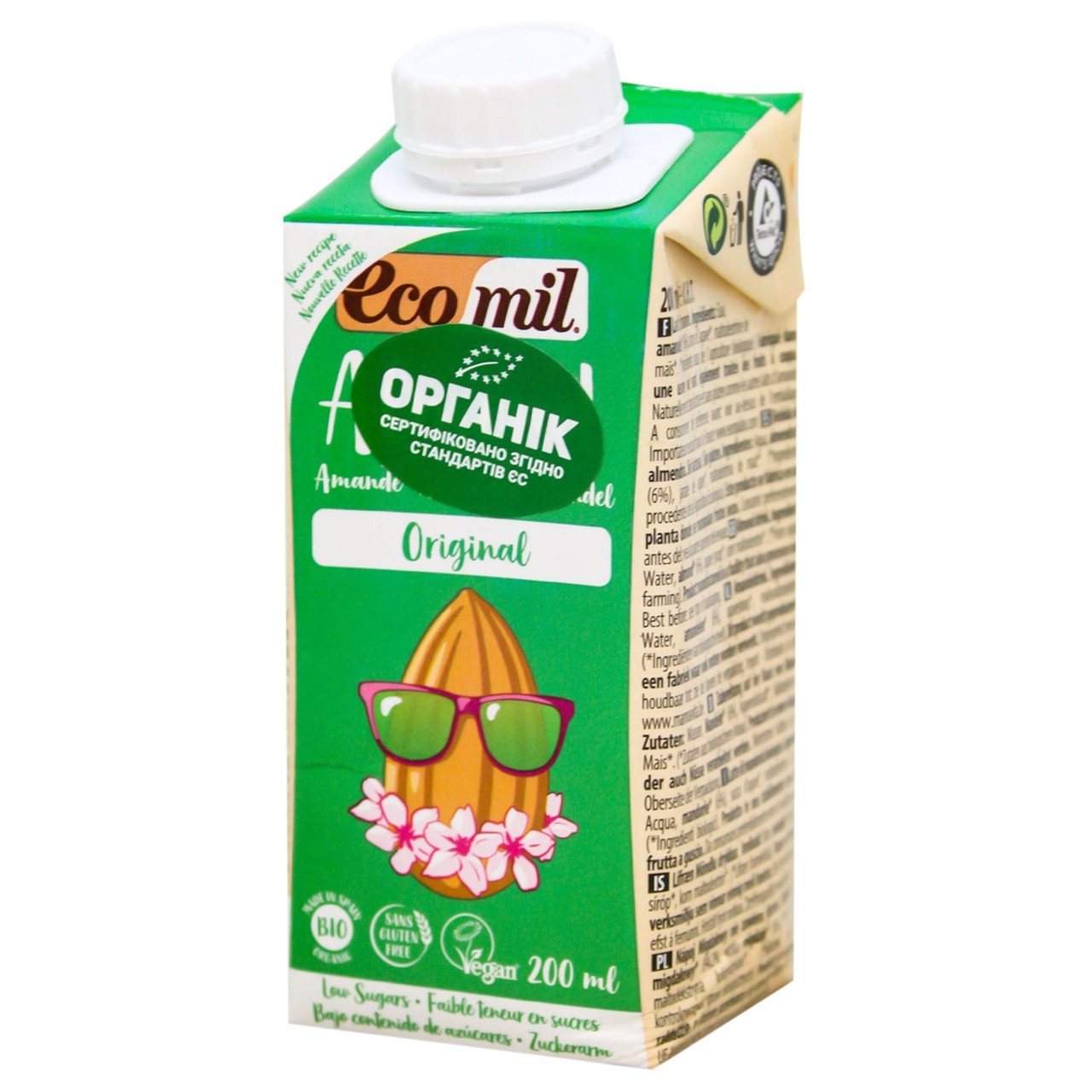 Органічне рослинне молоко з мигдалю без цукру 200мл TM EcoMil