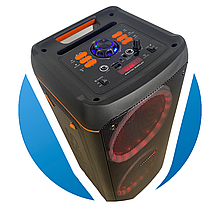 Колонка с мощным звуком 300w Bluetooth,USB, MicroSD, Микрофон, подсветка Dance box  2 динамика  Su-Kam 0808