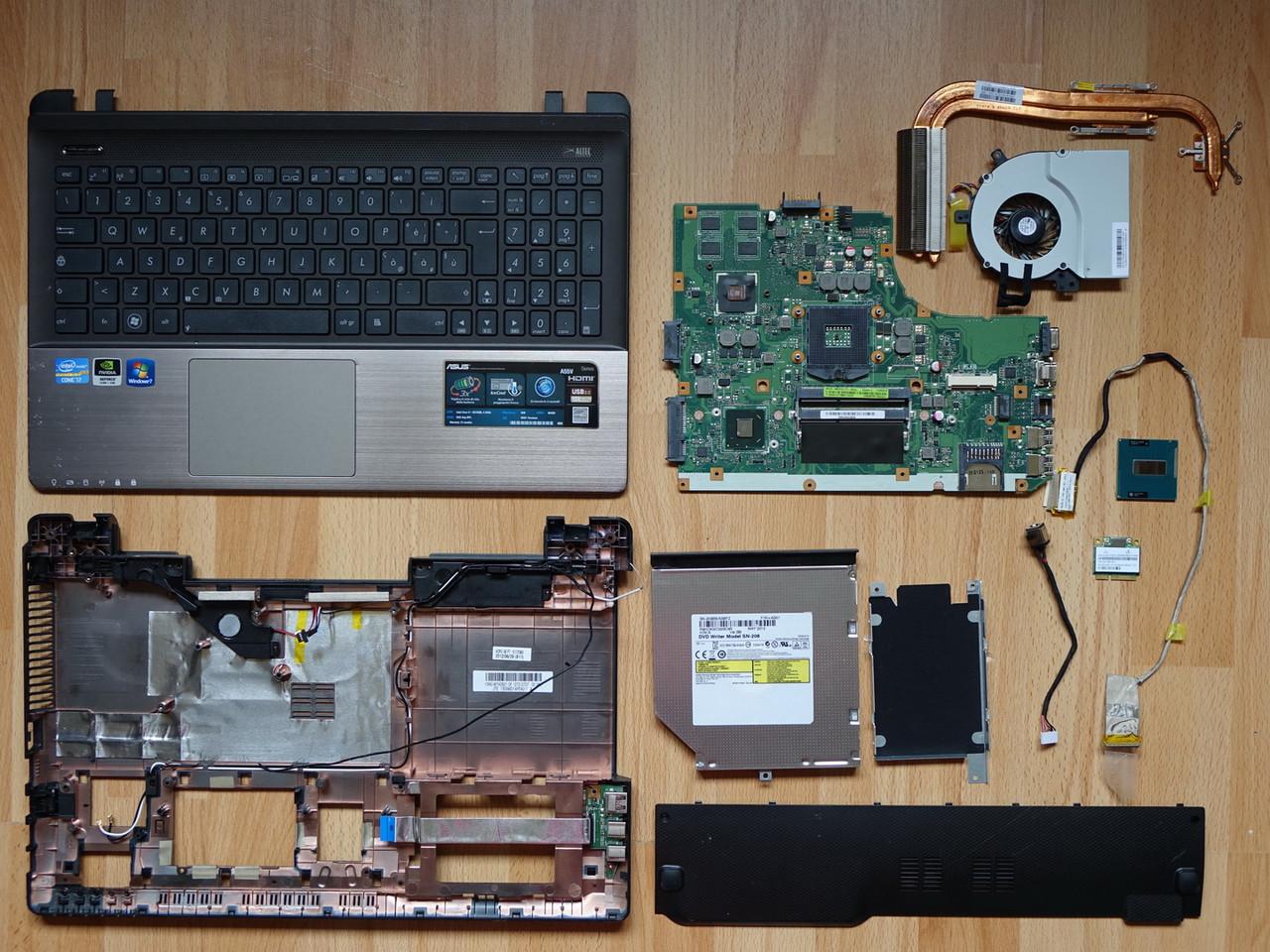 Разборка Asus A55V K55VD (Материнская плата, Процессор i7, Поддон, Топкейс, Клавиатура, WiFi, Динамик, Шлейф )