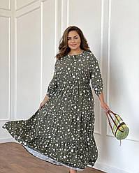 Платье Прованс горох хаки NEW
