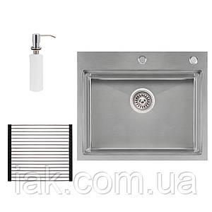 Набір 3 в 1 Qtap кухонна мийка DH6050 3.0/1.2 мм Satin + сушарка + дозатор для миючого засобу