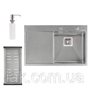 Набір 3 в 1 Qtap кухонна мийка DK7850R 3.0/1.2 мм Satin + сушарка + дозатор для миючого засобу