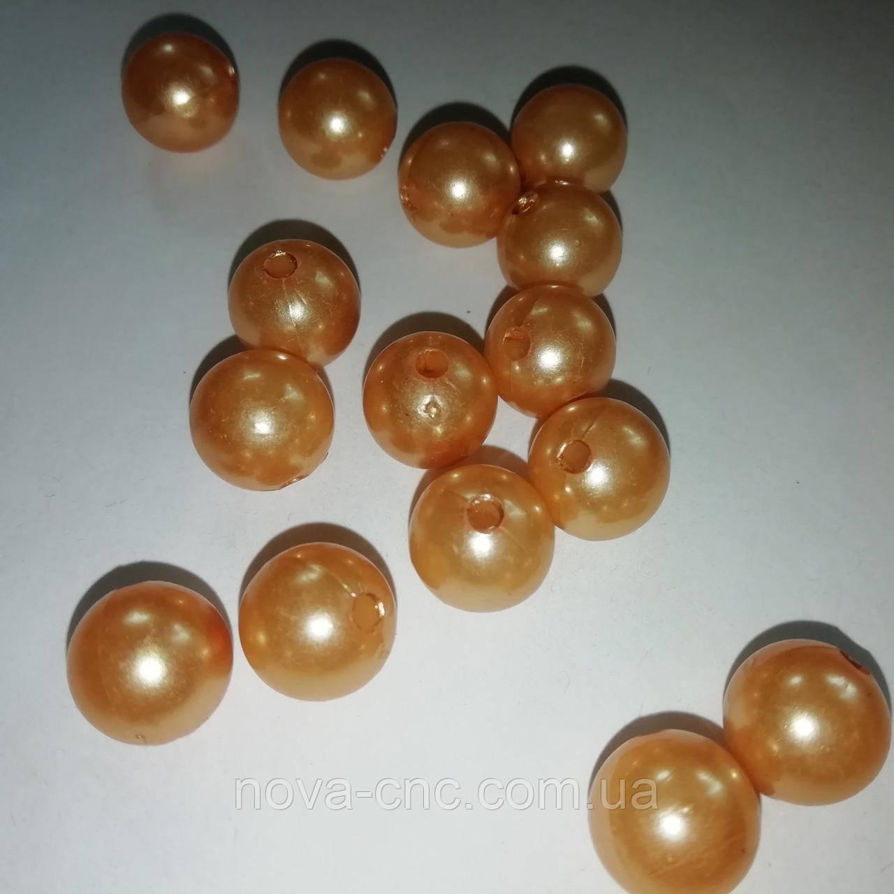 """Бусины пластик """"Шар гладкий"""" бледно-оранжевый 12 мм  500 грамм"""