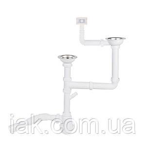 Сифон для подвійної кухонної мийки Lidz (WHI) 60 05 M003 00