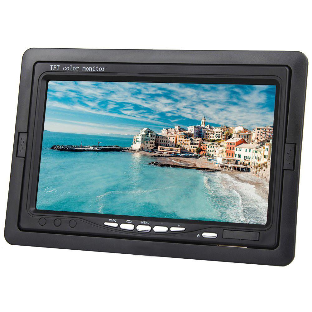 Цветной автомобильный монитор 7'' с 2-мя видеовыходами для камеры заднего вида + рамка