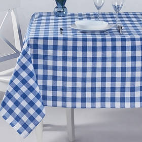 Скатерть Eponj Home - Kareli mavi голубой 160*160