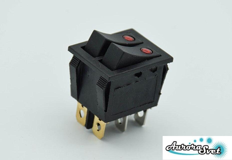 Кнопка - двухполюсный перекидной переключатель 250 В 16A с подсветкой красн. (точечной )