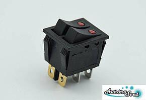 Кнопка - двополюсний перемикач перекидний 250 В 16A з підсвічуванням черв. (точкової )