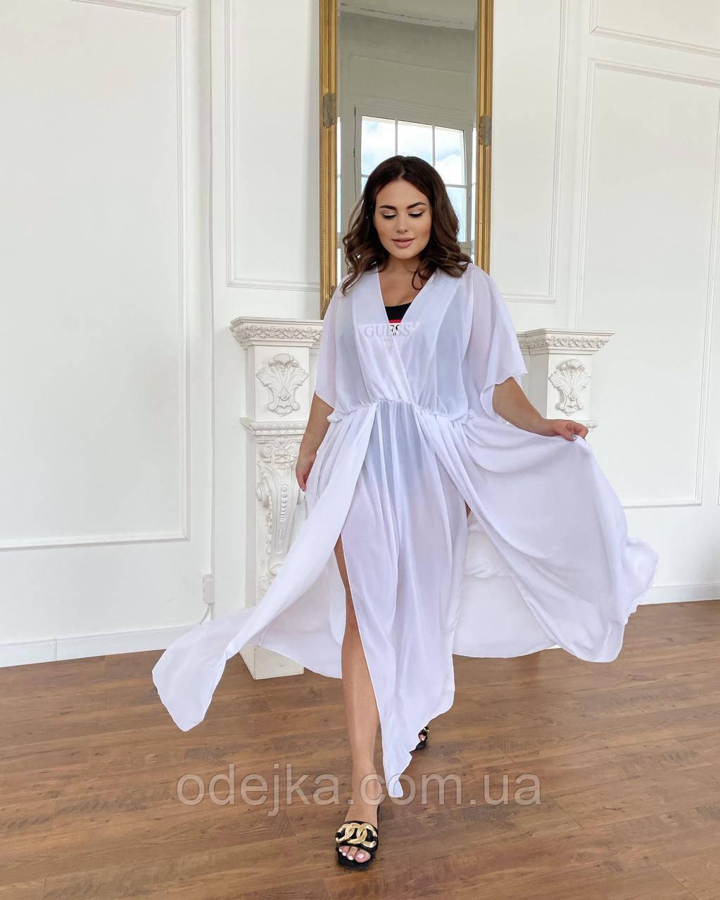Пляжная длинная туника - платье белый