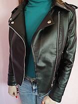 Куртка косуха женская  демисезонная из эко кожи Премиум   черная р.М, фото 2