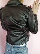 Куртка косуха женская  демисезонная из эко кожи Премиум   черная р.М, фото 3
