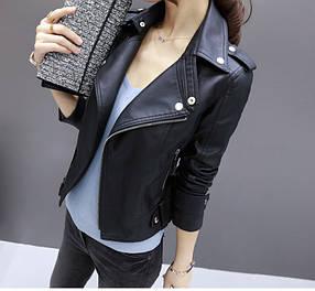 Куртка-косуха жіноча демісезонна з еко шкіри Преміум чорна р. М