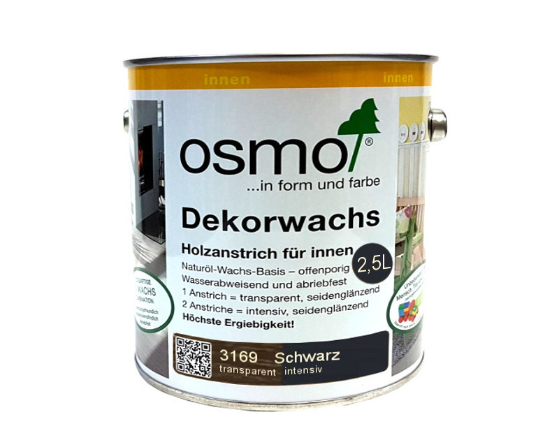 Масло захисне OSMO DEKORWACHS INTENSIVE FARBTONE для деревини 3169 - Чорне 2,5 л